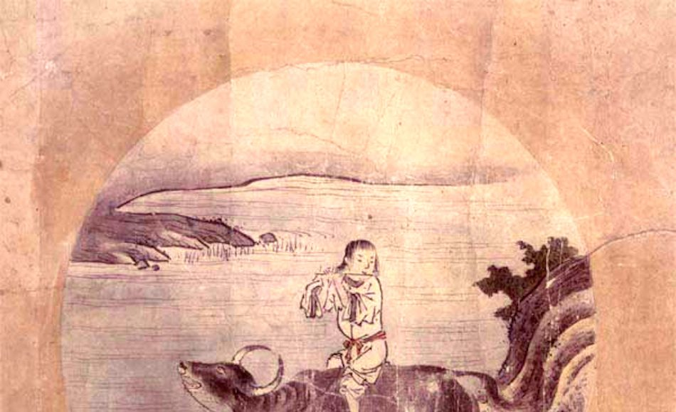 Illustration of a boy riding an ox playing a flute. This is one of a series of ten images, generally known in English as the Ox-herding (or Bull-herding) pictures, by the 15th century Japanese Rinzai Zen monk Shubun.