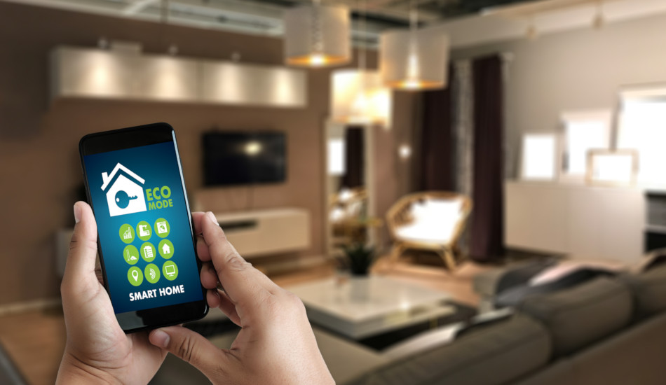 A smartphone is shown with an app to control items in a smart home.
