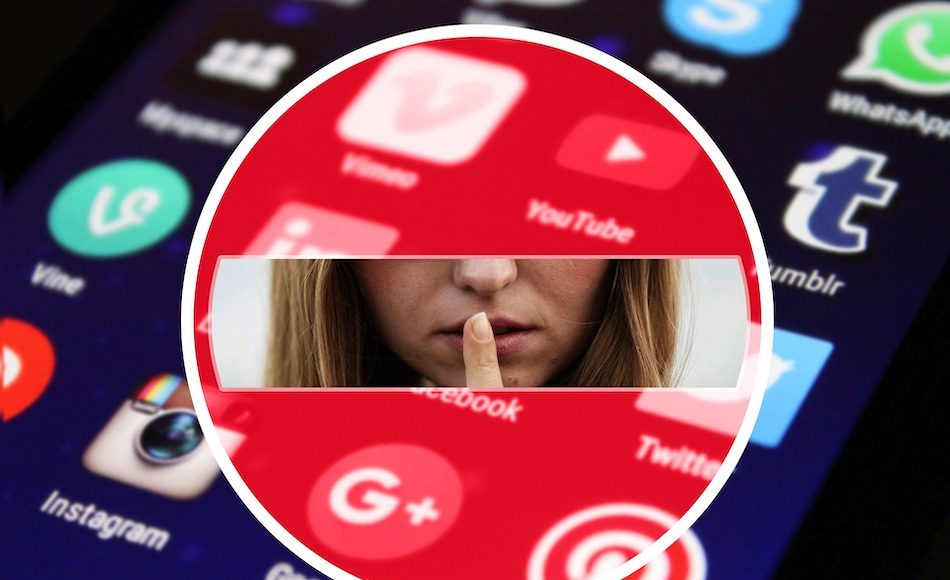 Girl holding finger to mouth to silence framed by social media logos.