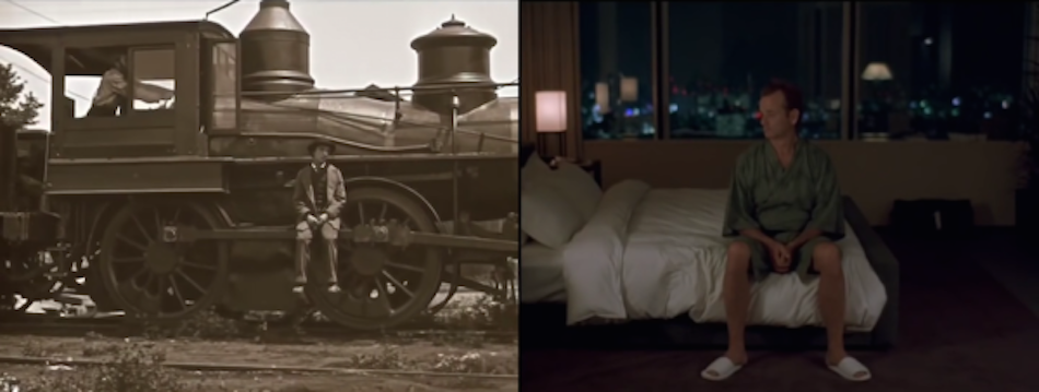 buster keaton photo as he sits on a train next to a photo of Bill Murray from modern film in the same shot but he sits on a motel bed in film 'lost in translation'