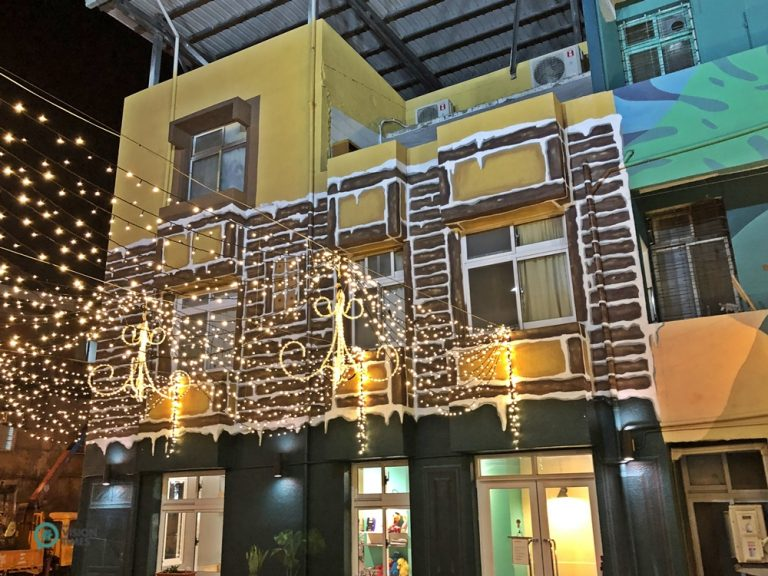 Christmas lights hanging in the Craftsman Residential District in Pingtung City in Southern Taiwan.