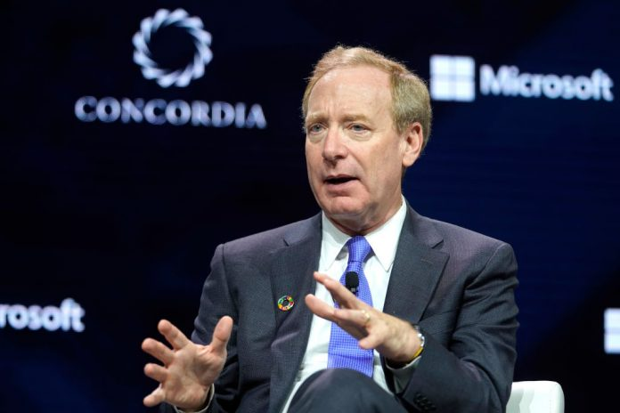 Brad Smith, President of Microsoft, speaks onstage during the 2019 Concordia Annual Summit - Day 1 at Grand Hyatt New York on September 23, 2019 in New York City
