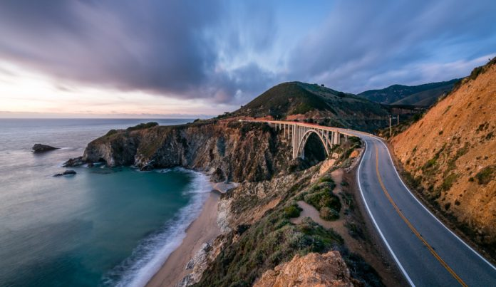 California's scenic Highway 1 at dusk.