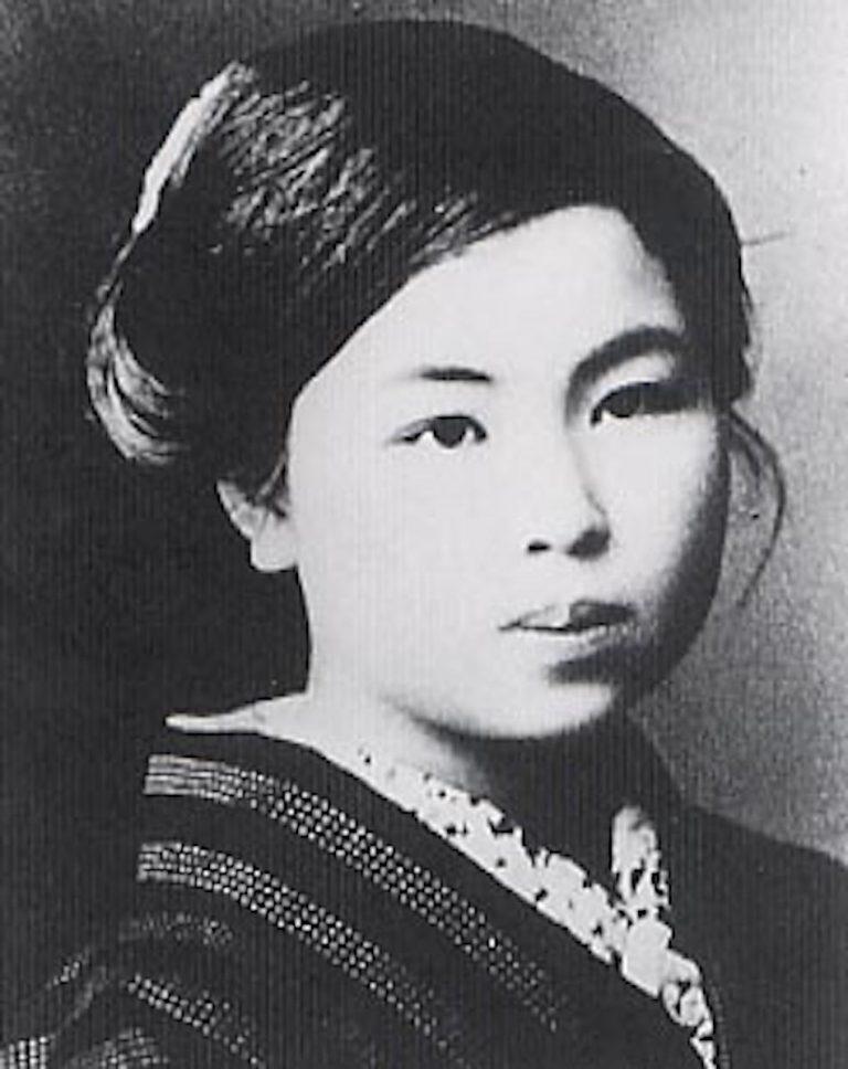black and white Portrait of Japanese Poet Kaneko Misuzu.