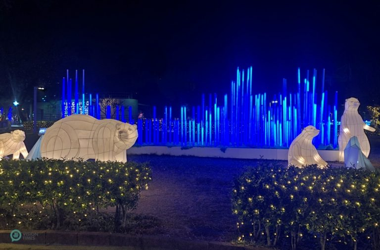 """""""Pillars of Light"""" display with lighted polar bears and icebergs, part of the 2020 Christmas Festival light show at Pingtung Park, Taiwan."""