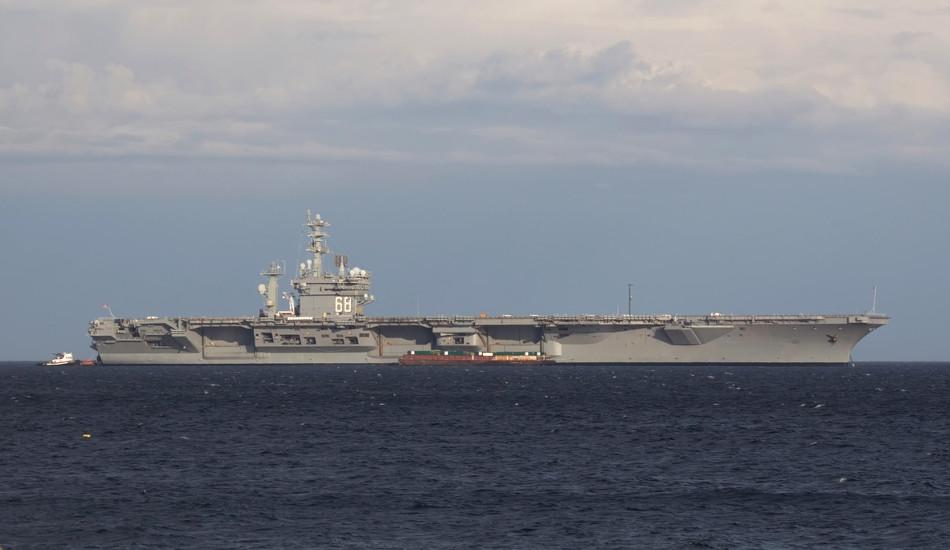 A Nimitz-class aircraft carrier at sea.