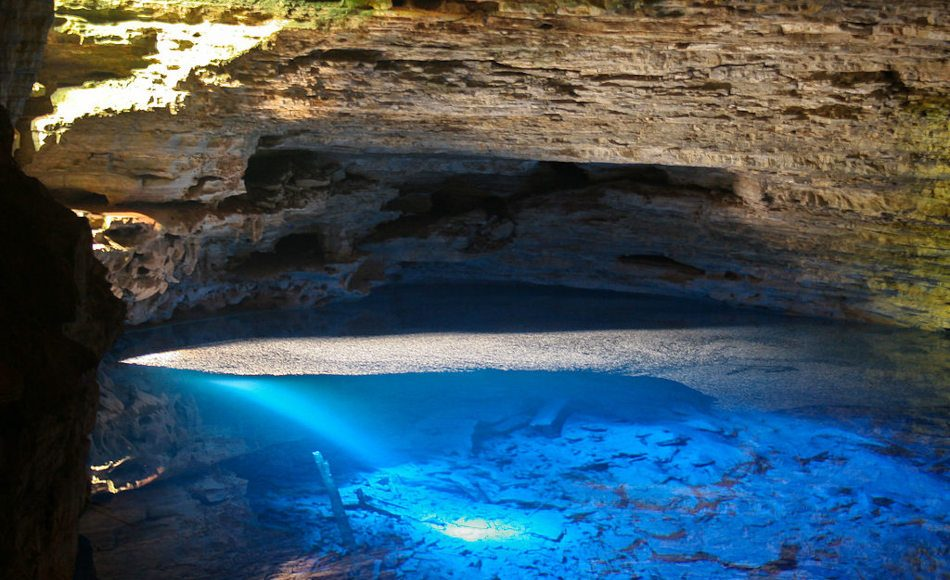 A pool of deep blue water in a cave at Chapada Diamantina National Park in Brazil.