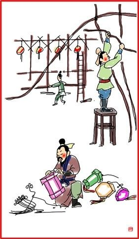 chinese new year day 12 making lanterns