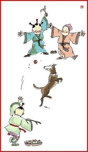 chinese new year day 2 family play with dog illustration