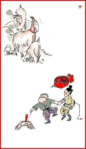 chinese new year day 4 illustration goats in background kids play with firecracker