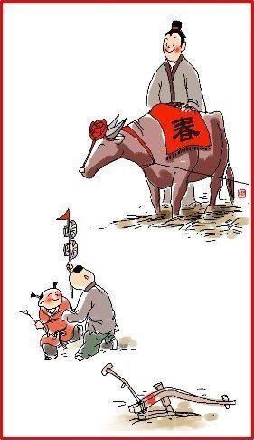 chinese new year day 5 illustration man with ox and two children playing