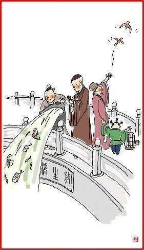 chinese new year day 8 illustration  men throwing fish in river and releasing birds on bridge