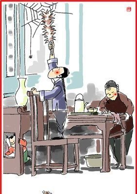 chinese new year 24 december illustration of people cleaning the house