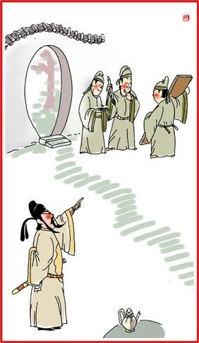 chinese paper cutting around door in illustration man in ancient chinese clothing look on