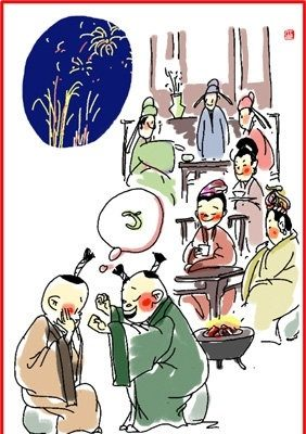 chinese new year illustration lunar day 30 old and young stay up to celebrate