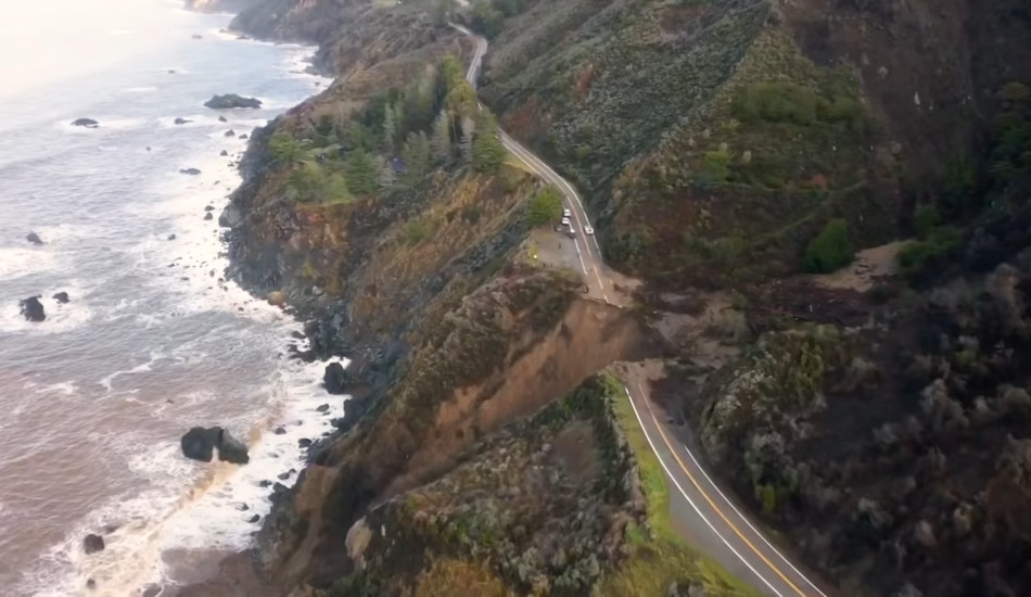 Damage to Highway 1 near Big Sur, California.