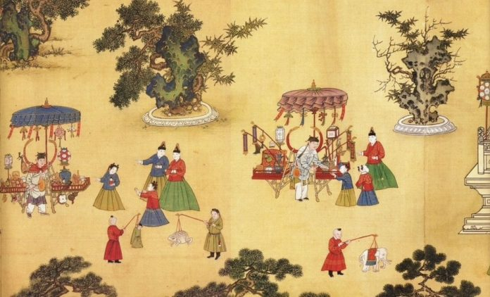 Small detail of larger painting shows stall owners and children with lanterns enjoying Yuanxiao Festival in the Forbidden City.
