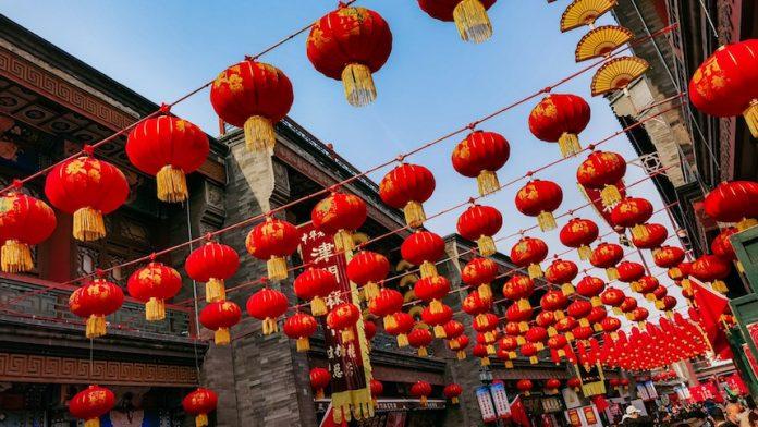 Lanterns hung high