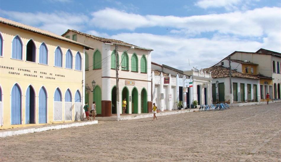 Historical buildings in the center of Lençóis, Brazil.