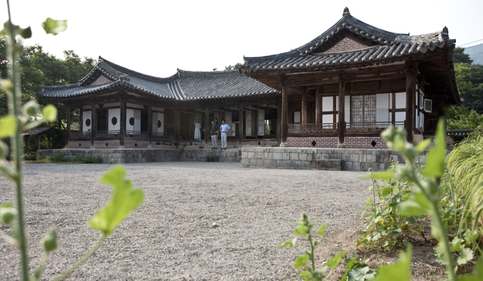 exterior of traditional korean tea house with people standing out the front and plants in the foreground