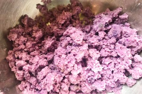 Ube mashed finely with a fork