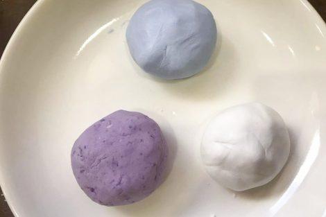 blue, purple and white dough ball