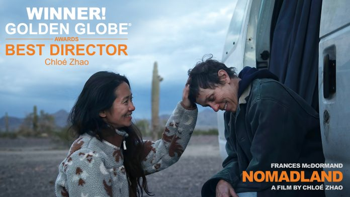 Director Chloé Zhao with actress Frances McDormand on location during the filming of 'Nomadland'.