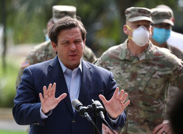 Florida Gov. Ron DeSantis  gives updates about the state's response to the coronavirus pandemic during a press conference on April 17, 2020 in Fort Lauderdale. A DeSantis Executive Order eliminated all fines from COVID-19 lockdown measure enforcement by county and city government officials.