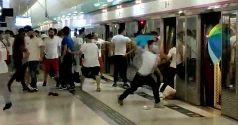 Dozens of masked men stormed the Yuen Long train station and assaulted people with wooden sticks and metal rods.