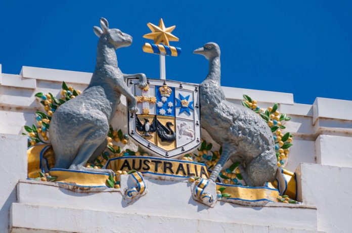 Australian Coat of Arms on Old Parliament House in Canberra, Australia