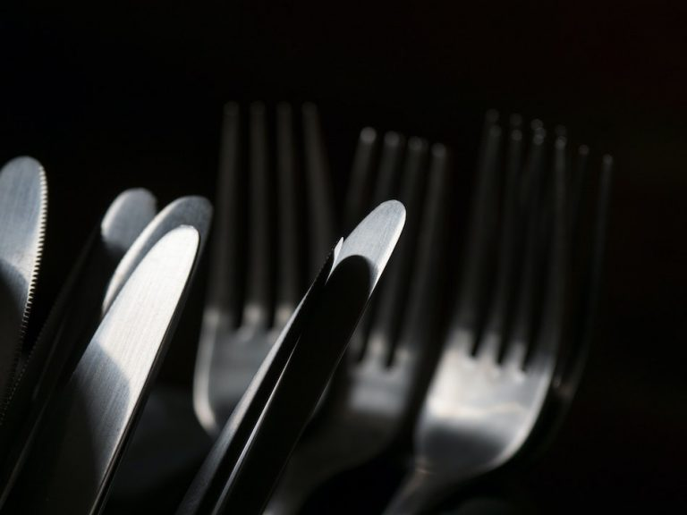 clean cutlery with black background.