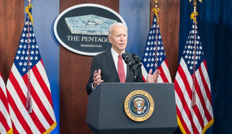 Joe Biden speaking at the Pentagon.