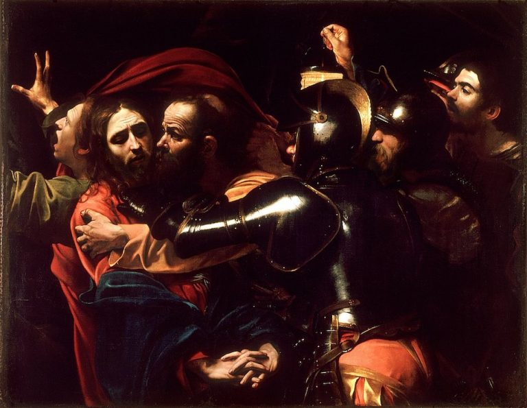 Caravaggio painting called the taking of christ, shows guards taking christ away