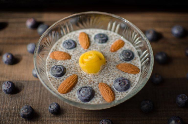 chia seed pudding with almonds and blueberries