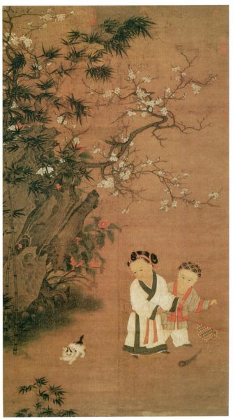 song dynasty painting children at play in winter