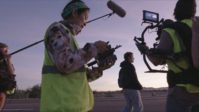 Director Chloé Zhao on location filming Nomadland.