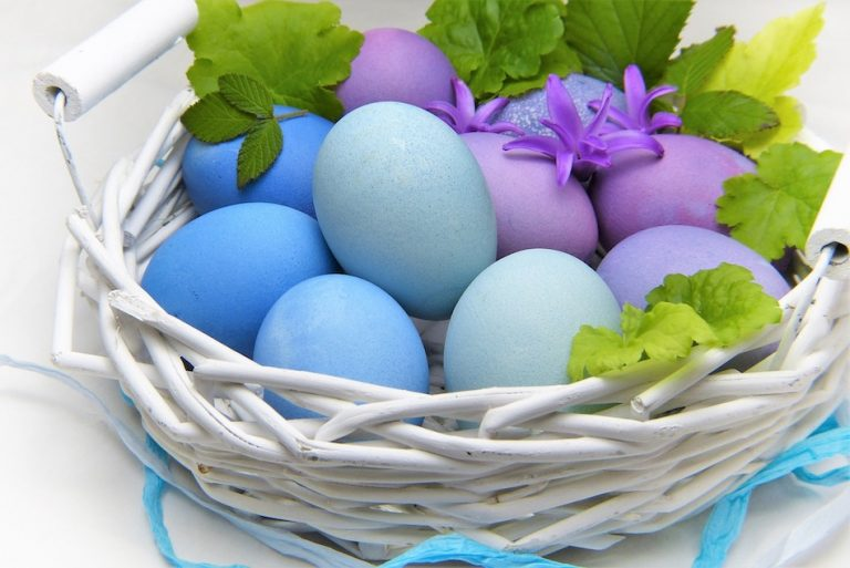 light blue, purple and pale green dyed colored eggs are used for decoration at Easter Celebrations. They sit in a white basket with some green leaves and purple flowers on top.
