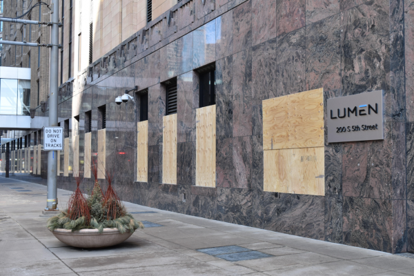 Buildings near the Hennepin County Government Center in downtown Minneapolis have been fortified in preparation for potential violence and unrest emerging during the trial of fired police officer Derek Chauvin in the death of George Floyd.