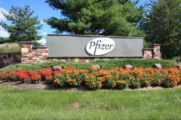 Pfizer Logo outside corporate office. Concerns around COVID-19 vaccine pregnancy abound.