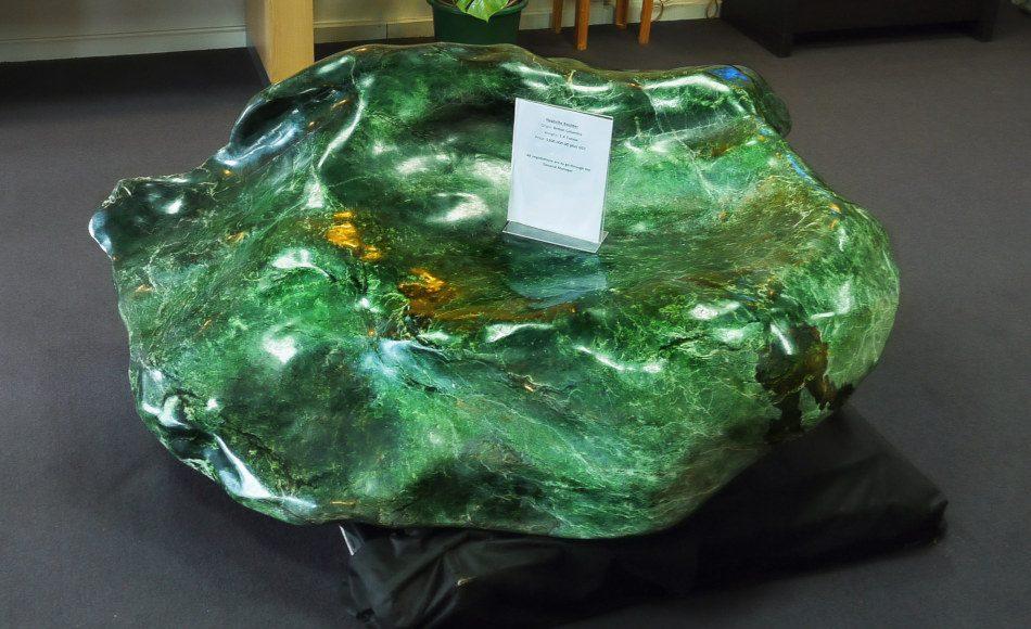 Large 1.4 ton jade nephrite boulder on display in Hokitika, New Zealand.