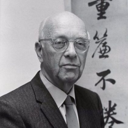 Black and white photo of John King Fairbank