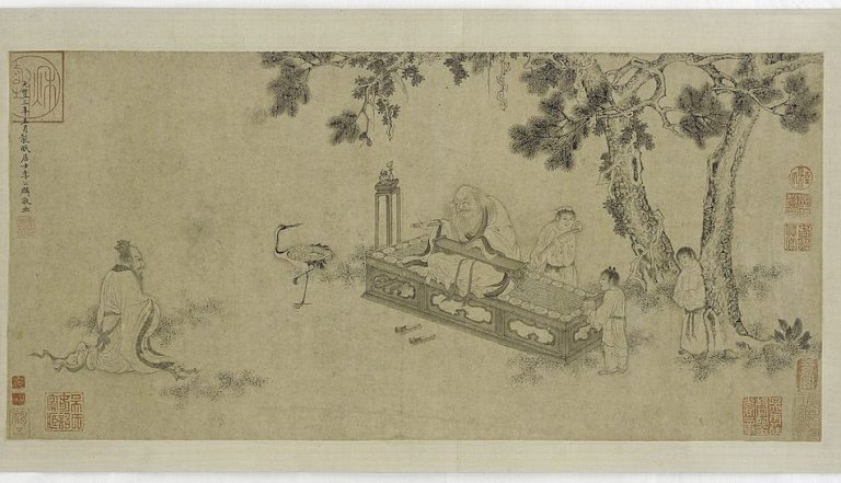 A 16th century ming dynasty ink painting of Laozi