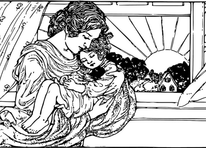 illustration of mother holding a child by a window that is open as the sun is rising the child sleeps