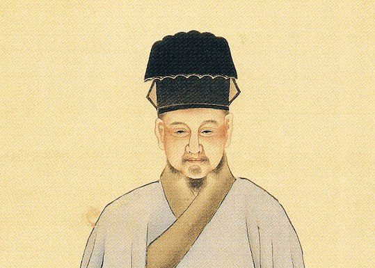 Lu Yu tea master painting he sits with blue vase in front of him and white tea cup and wears ancient chinese robes