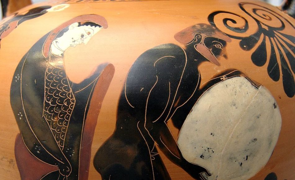 Persephone supervising Sisyphus in the Underworld, Attica black-figure amphora (vase), c.530 B.C.
