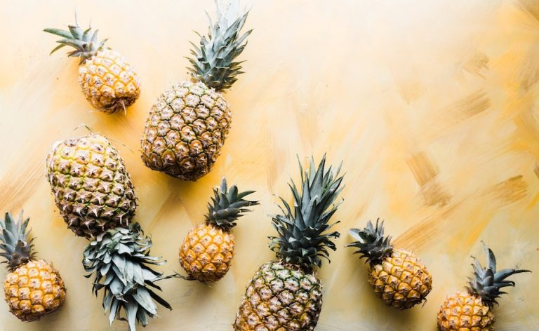 pineapples on a table