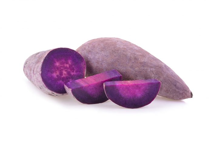 purple yam sliced
