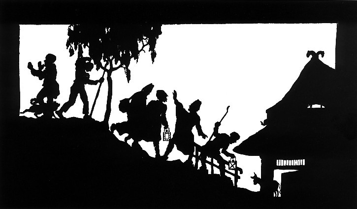 A traditional papercut silhouette showing people and animals in a village by Wilhelm Gross.