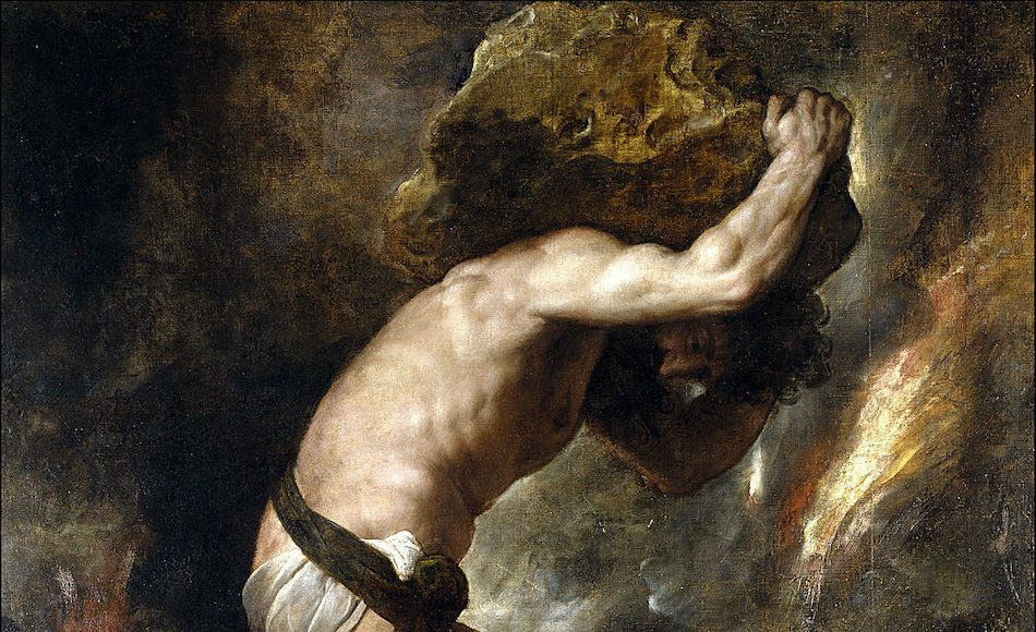 'Sisyphys' (1548-49) by Titian, Painting of a man in loin cloth carrying a heavy rock over his head