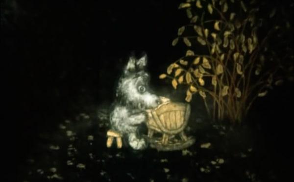 Tale of Tales (Skazka skazok) animation still of a wolf rocking a bab
